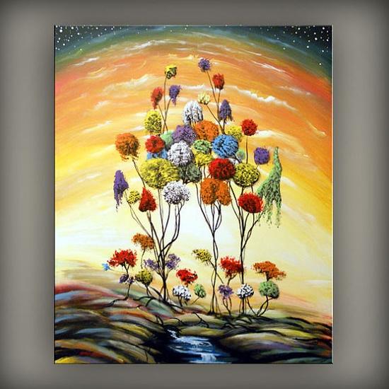 art abstract original painting lollipop tree art large by mattsart