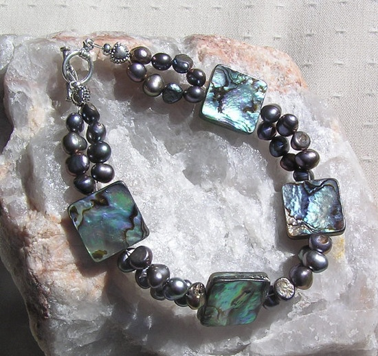 Abalone Shell & Freshwater Pearl Gemstone by SunnyCrystals on Etsy, £14.00