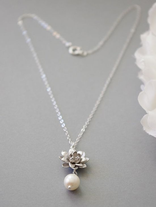 Silver Lotus Necklace Lotus and Pearl Necklace by SarahOfSweden