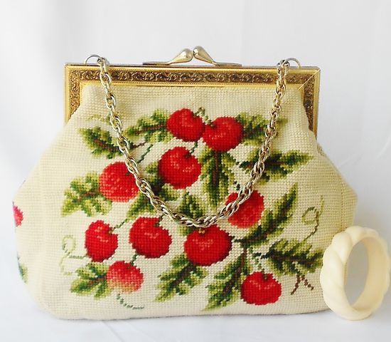 VIntage cherry needlepoint purse cute