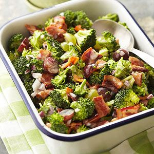 This cold and crunchy side salad is a great one to bring to a potluck. It makes enough for 10-12 people.