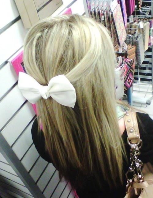 long hair white bow