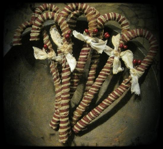 Primitive Christmas Candy Cane Ornaments by PrimsByJen on Etsy