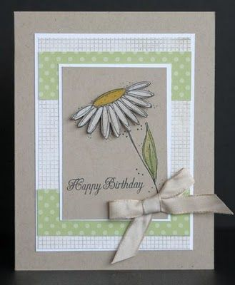 handmade birthday card from Scrappin' and Stampin' in GJ ... like the classic look with layered rectangles ... sweet daisy ... gray with soft green and white ... lovely!