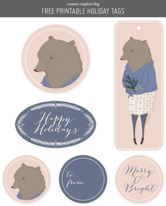 Free Printable Holiday Gift Tags from Creature Comforts blog