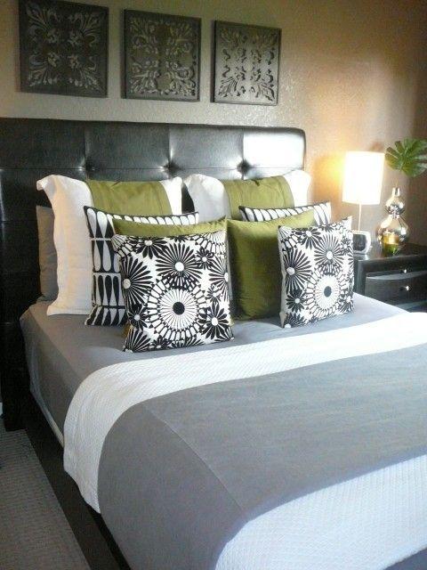 green + gray bedroom