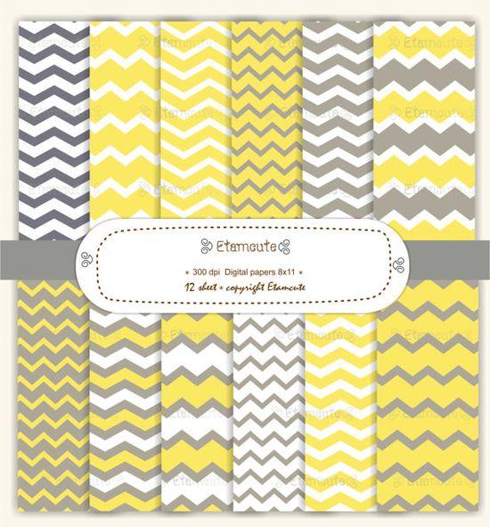 chevron digital paper scrapbooking , yellow and gray , E- 071. $4.50, via Etsy.