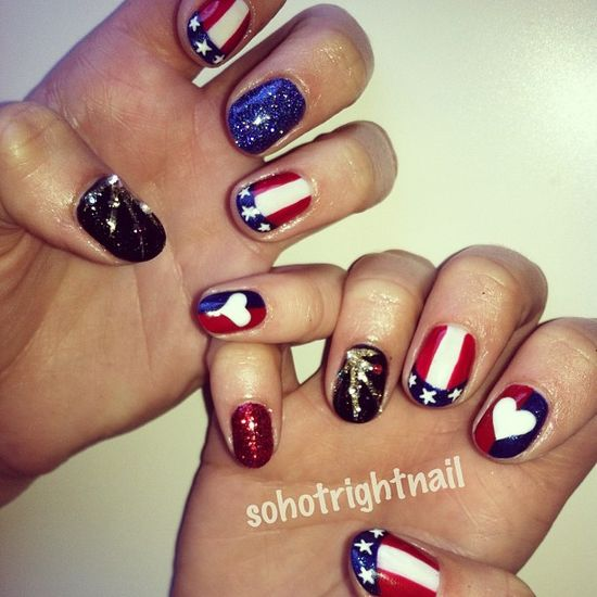 sohotrightnail's festive tips. Show us your 4th of July-inspired nails! Tag your pic #SephoraNailspotting to be featured on our social sites.