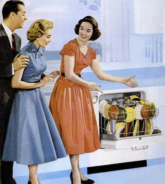 A happy homemaker showing off her wonderful new dishwasher. #vintage #1950s #kitchen #dishwasher #ad #homemaker #housewife
