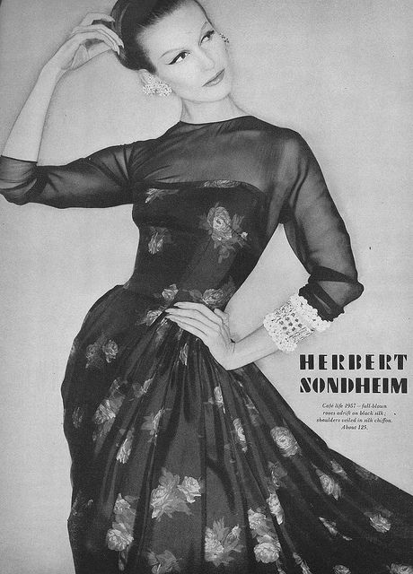 Sheer and florals marry gorgeously in this elegant 1950s dress from Herbert Sondheim. #vintage #fashion #1950s