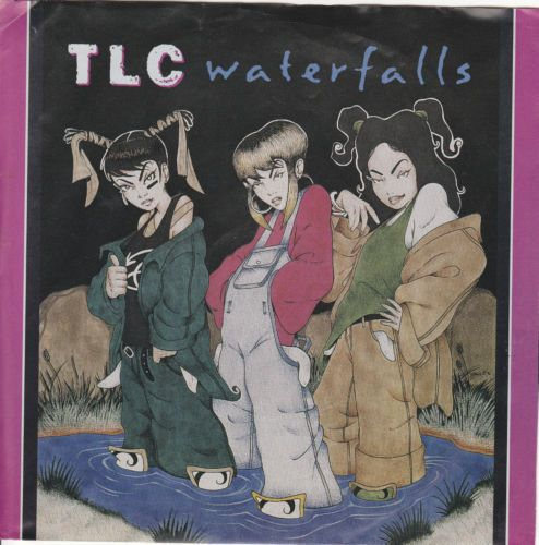 """TLC / Waterfalls (2 Versions) / 7"""" Vinyl 45 Record & Picture Sleeve / Lisa Lopes"""