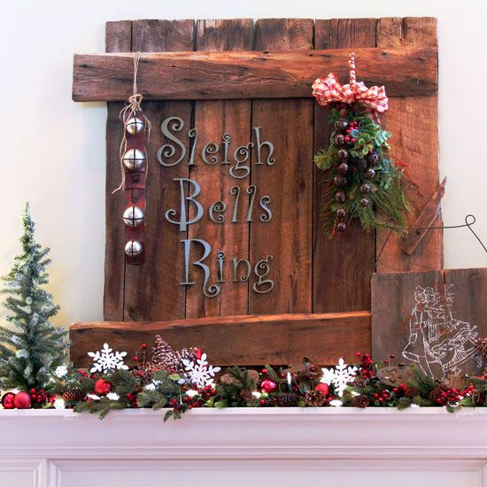 Country-Theme Christmas Mantel - love the graphic detail! More mantel ideas: www.bhg.com/...