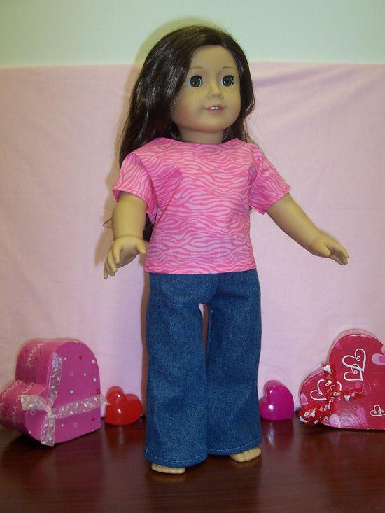 Denim Flared Leg Jeans for 18 inch doll by GiGisDollCreations, $5.00