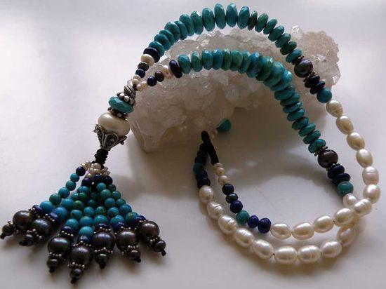 Arizona Turquoise gemstone necklace  blue by ShambhalaJewelry on etsy.com