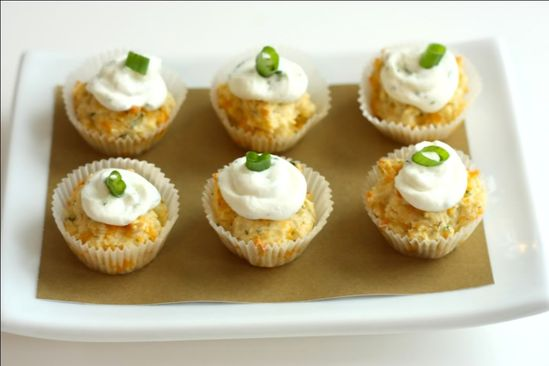 """Sour cream beats icing.  These are savory cheddar herb """"cupcakes"""""""