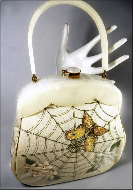 Vintage handbag, spider web