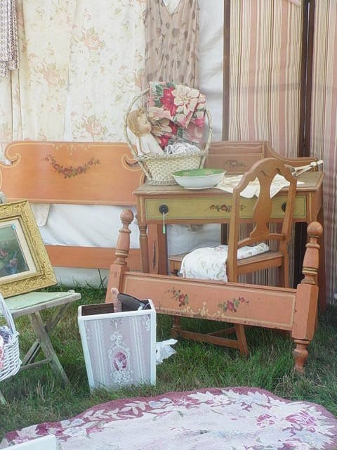 Vintage Cottage Furniture Painted Bedroom Set Original Paint Roses 1930s