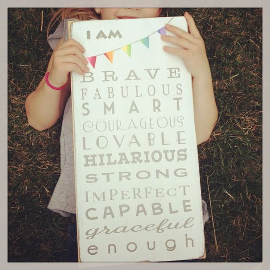 For Nicole - I am Brave ... I am Enough with Bunting Typography Word Art Sign - Motivational - New Fun Size