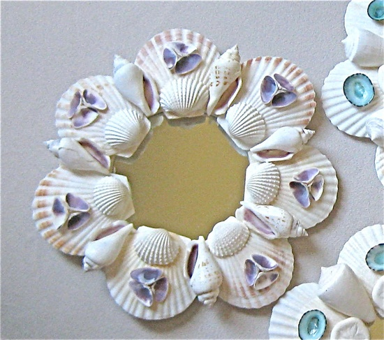 Beach Decor - Small Shell Mirror or Candleholder with Purple Shells