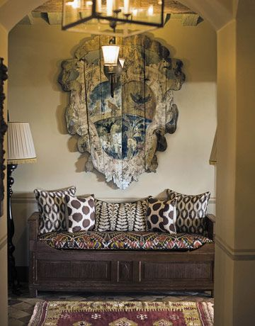Madeline Weinrib Jet Ikat Fabric covered bench with Brown Mu Ikat Pillows