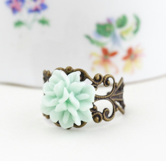 Mothers Day Gift, Mint Green Flower Ring, Antique Brass, Adjustable.