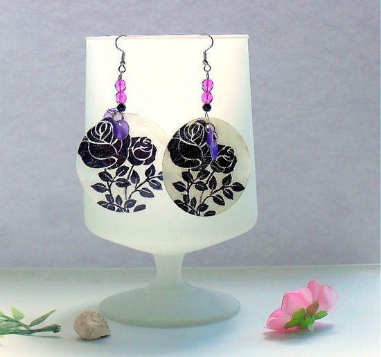 Beaded Earrings, #Calypso #Shell, #Black and #Purple, #Roses From Loreesjewelrybox #etsy #handmade #jewelry