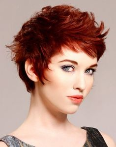 Burgundy short red hair style