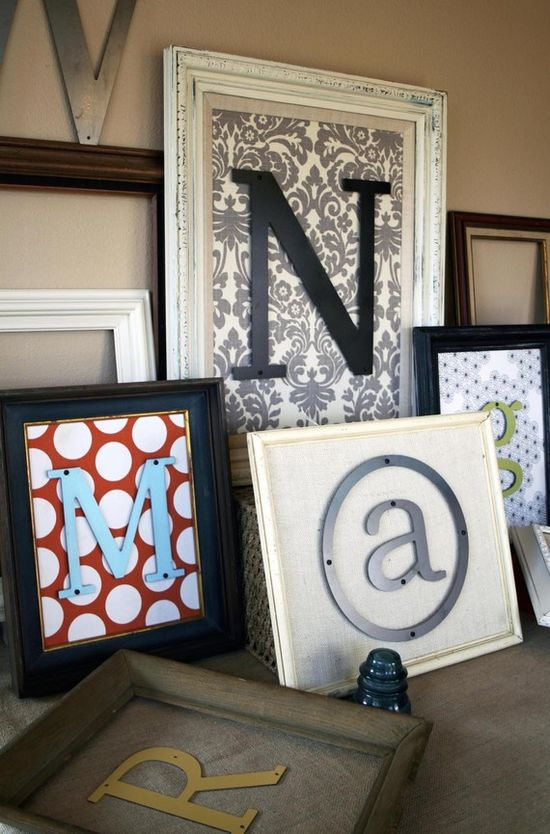 Initials framed with scrapbook paper. I love this with some ribbon on a front door ;)