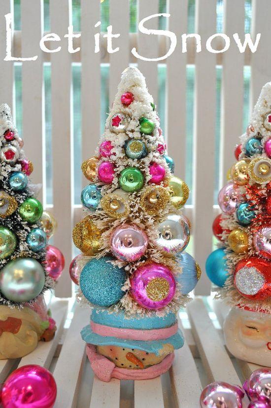 snowman pink christmas bottlebrush tree