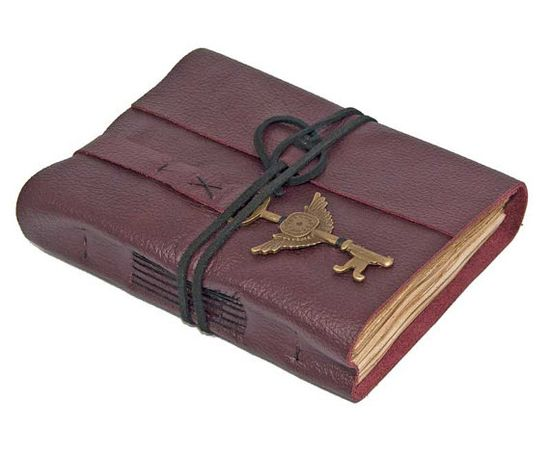 Burgundy Leather Journal with Winged Clock Key by boundbyhand, $39.00
