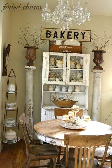 Cottage Decorating Ideas - take the tour of this charming cottage eclecticallyvinta....  Railroad Towne Antique Mall, 319 W 3rd St, Grand Island, NE, 308-398-2222, has columns and vintage round wooden tables