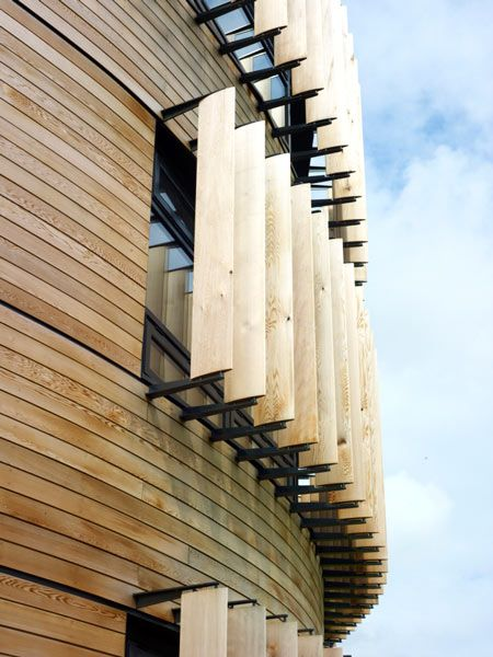 *modern architecture, wooden slats, wood*
