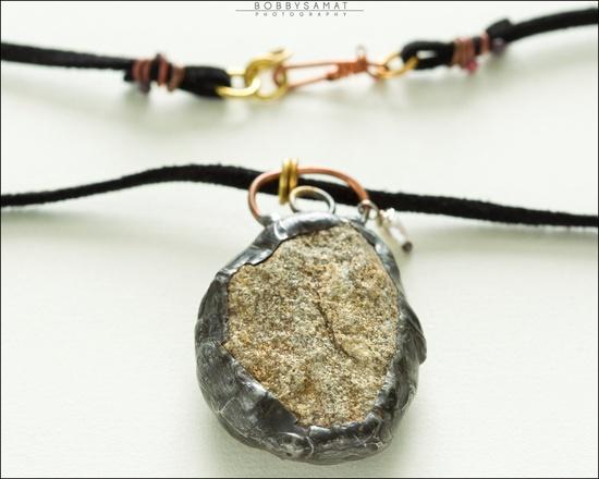 Oxidized Sterling Silver Encased Sandstone Necklace - Jewelry by Jason Stroud.