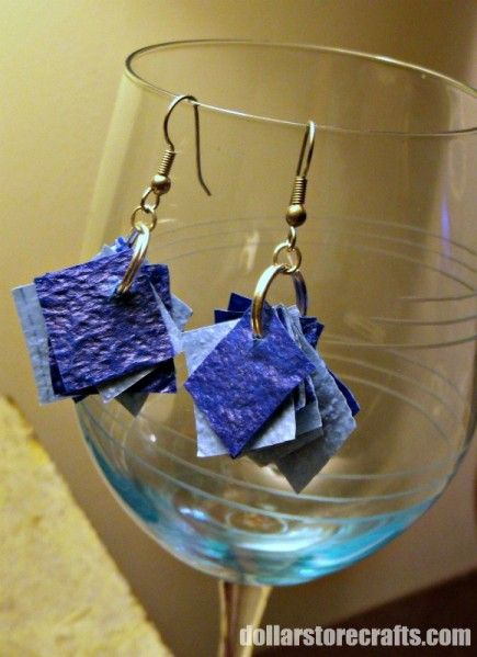 Earrings made out of dollar store tablecloths!