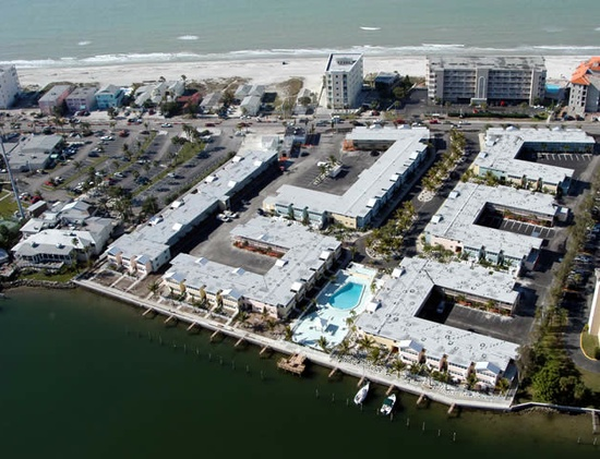 Aerial view of Barefoot Beach Resort in Indian Shores.