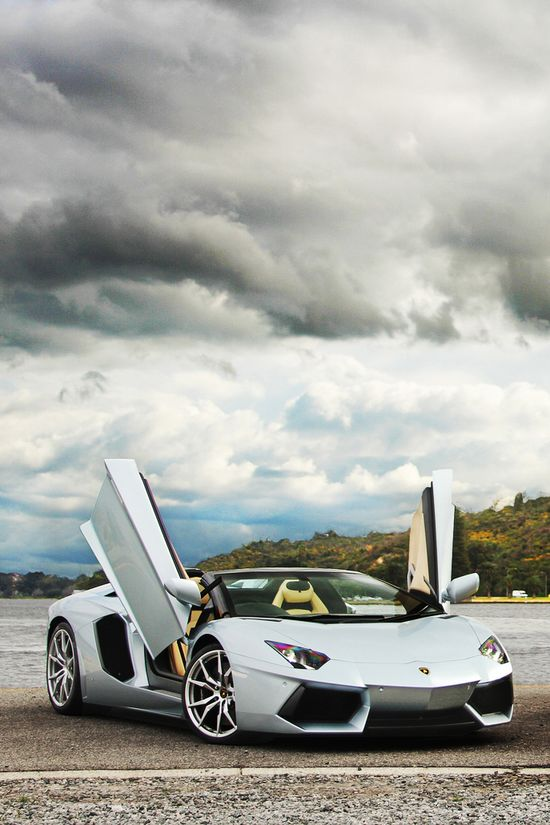 ? Luxury car Lamborghini silver #vehicle