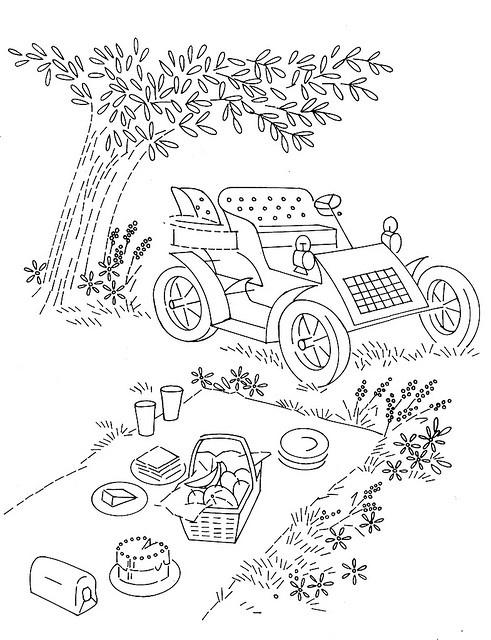 I love the vintage car in this picnic scene :)