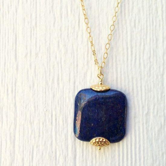 Lapis Necklace   Lapis Lazuli  Gold Jewelry  by jewelrybycarmal, $65.00