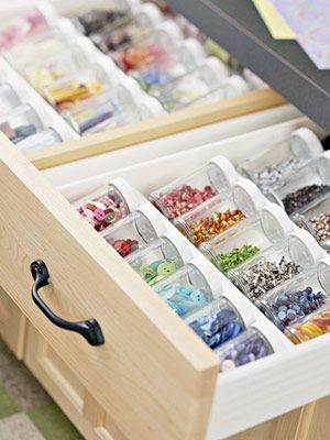 using spice jar organizers in drawers; this would be great for bead storage!