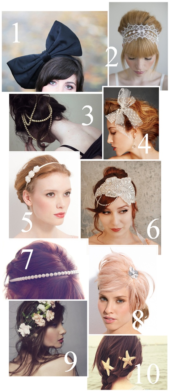 Hair Accessories! Love the HUGE bow and lacy things!