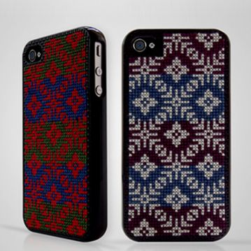 COOL!!! iphone  needlepoint!!! Each case comes with two needles and thread in three different colours, so you can sew in band logos, pixellated gaming icons, infantile swear words – whatever. The possibilities are endless.