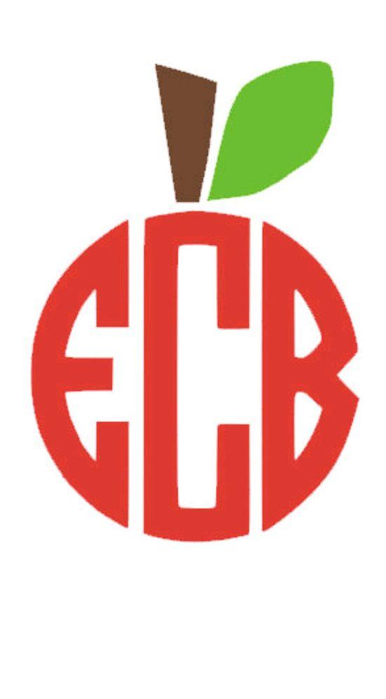 apple monogram - teacher gift