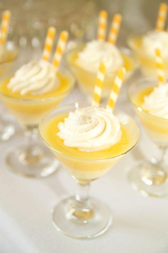Lemon pudding in mini martini glasses...adorable!