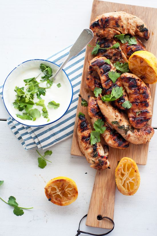 Cilantro Grilled Chicken & Salad with Lemon Yogurt Dressing