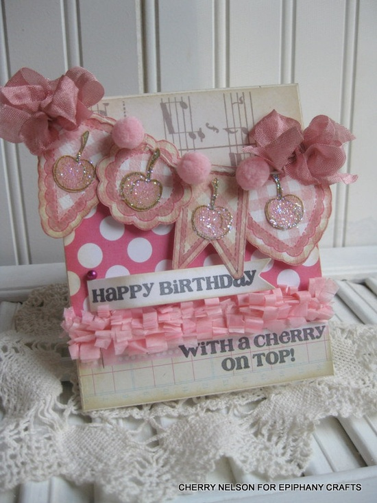 kitschy cute card- Cherry Banner