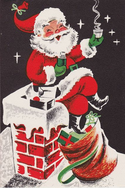 Santa takes a much needed coffee break. #vintage #Christmas #cards