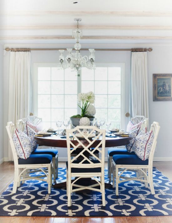 Navy and white dining room.
