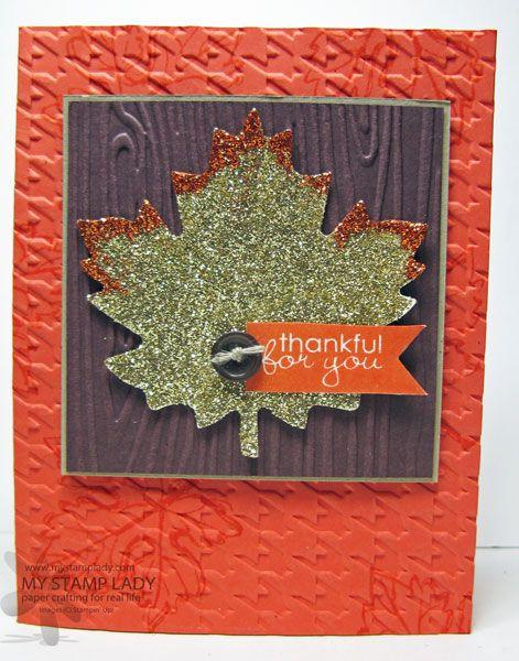 Handmade card with a glittered leaf