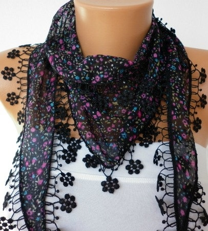 Black Scarf Cotton Scarf Headband Necklace Cowl with by fatwoman, $15.00