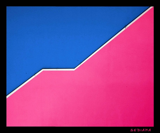 pink and electric blue #stairs #architecture